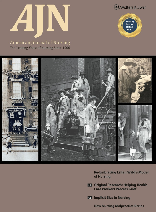 Journal cover - black and white photo collage of historical nurses and city setting